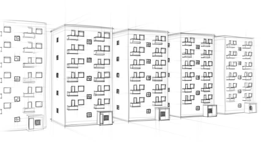 Apartment Building Drawing animated drawing of an apartment block (full hd) stock footage