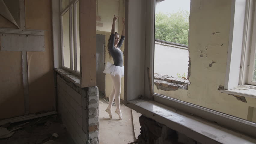 A ballerina trains in an abandoned building   Shutterstock HD Video #31712851