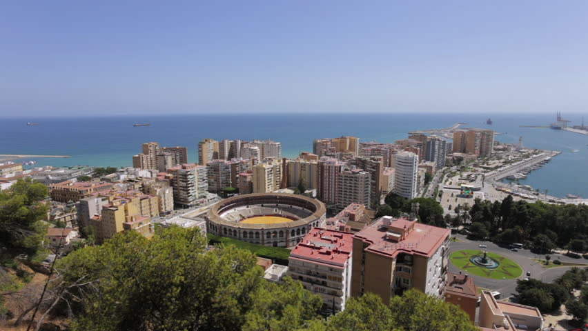 Top View of Malaga, Andalusia, Spain. Ariel View on malaga city with port and bullring.