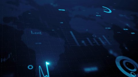 3d render. Animation of graph of stock market data and financial analysis. Stock market graph. Financial statistical analysis on blue background with growing charts. Big data on LED panel.