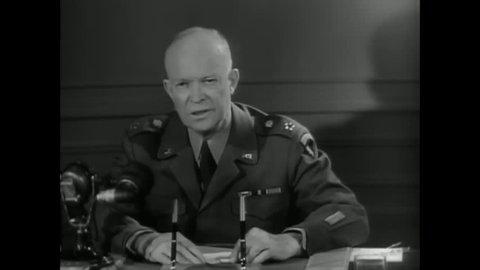 CIRCA 1950s - General Eisenhower speaks on NATO in 1950s Paris.