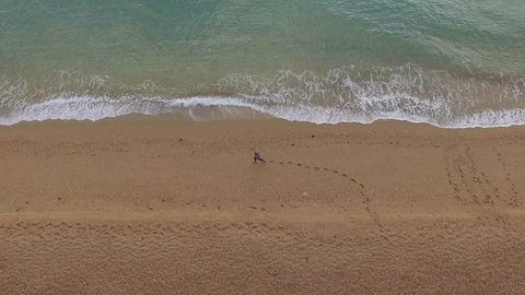 Aerial View of Person Walking on Sandy Beach, Leaving Footprints in Sand, Blue Ocean Waves, Drone Footage