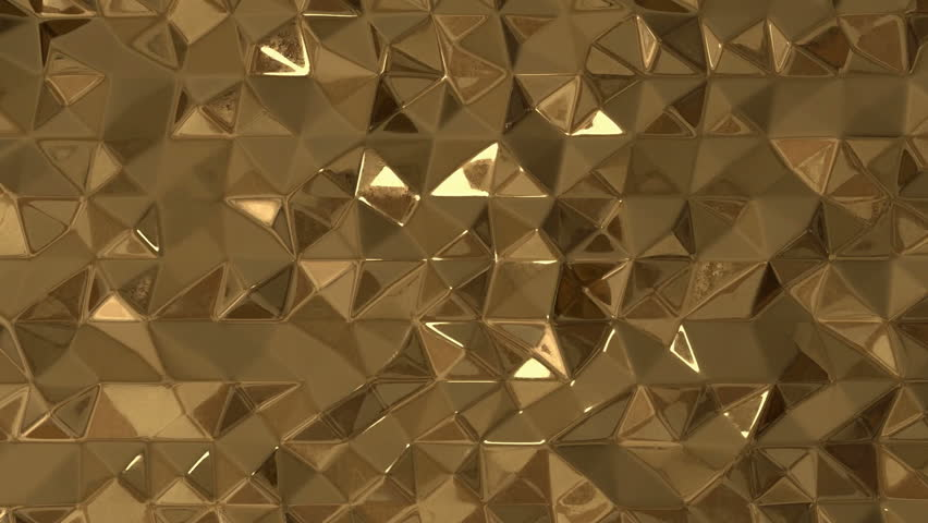 3d gold and black background. Abstract background with animation of waving smooth polygonal surface from gold and black glass. Animation of seamless loop. Oil background