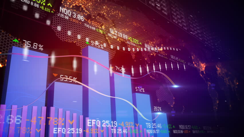 Seamlessly looping abstract animation of bar charts and global map in the background | Shutterstock HD Video #3178837