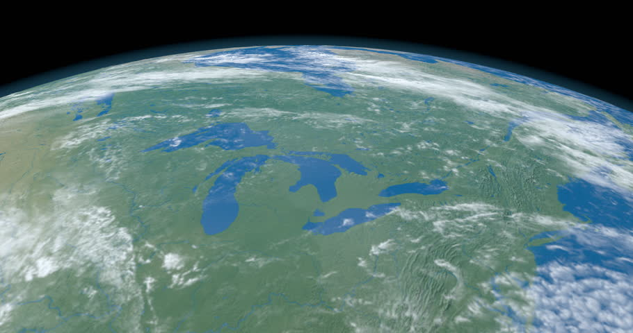 Great lakes, in America continent, in planet Earth, aerial view from outer space