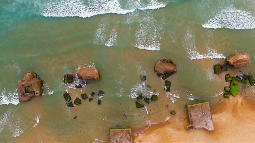 Beach in aerial view with rocks | Shutterstock HD Video #31801861