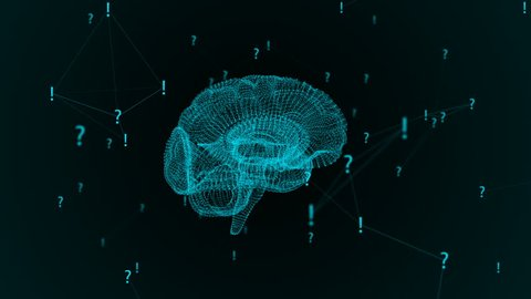 The human brain. Plexus with exclamation marks and question marks . Beautiful background. The concept of science, medicine and business. Loop animation