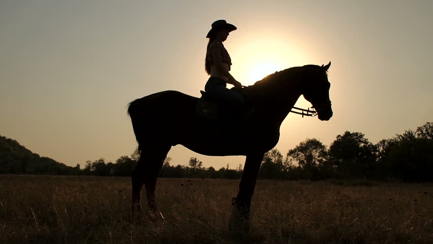 Silhouette of a woman riding a horse in the background sunset or sunrise in the field, slow motion. #31820011