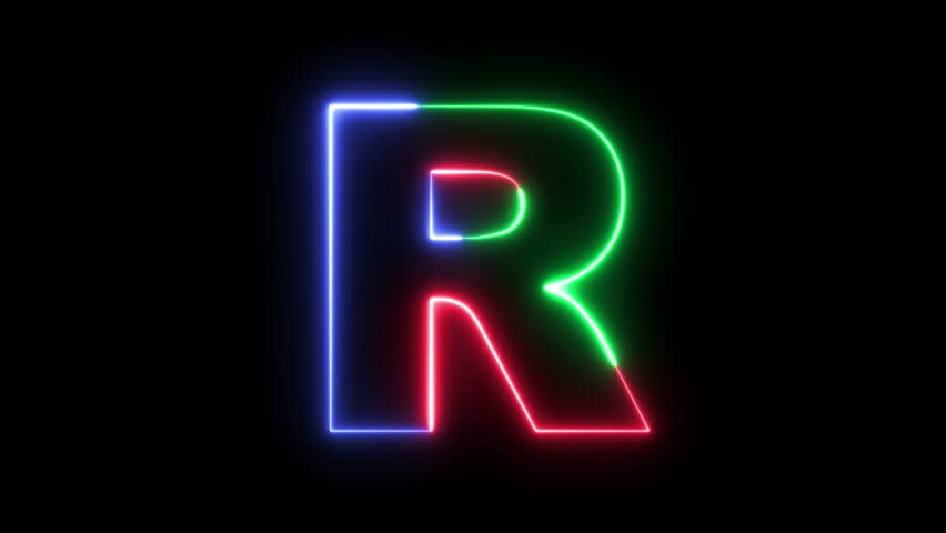 Letter R - RGB laser outline in three colors looping on black background in 4k