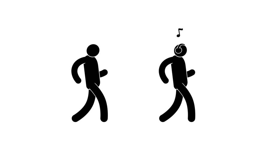 Happy pictogram man is dancing gait. Man walks with headphones listening to music. Walk cycle. 2d looped animation with alpha mask.