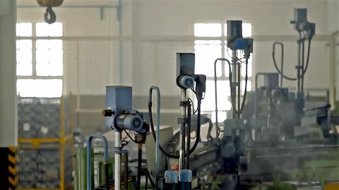 Industrial Automatic Robot Arms in the Production Line, Inteligent Factory Industry.