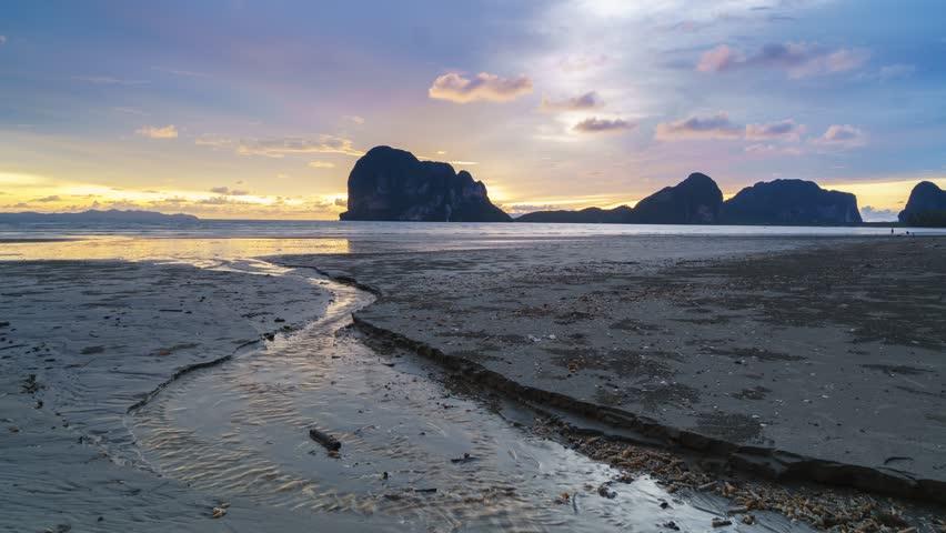 Sunset at Pak Meng beach, Trang province, Thailand. (Timelapse)
