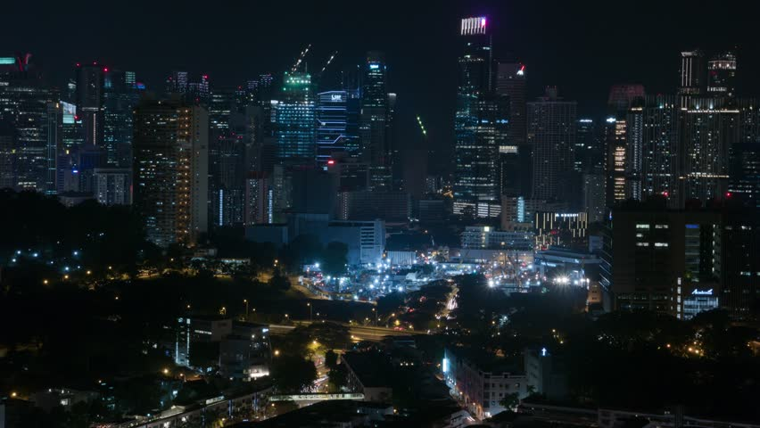 Night Timelapse of Singapore Skyline and Cityscape with long exposure light streaks, shot from central Singapore, Tiong Bahru