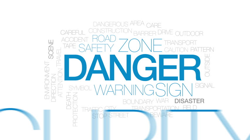 Danger animated word cloud, text design animation. Kinetic typography. #31846267