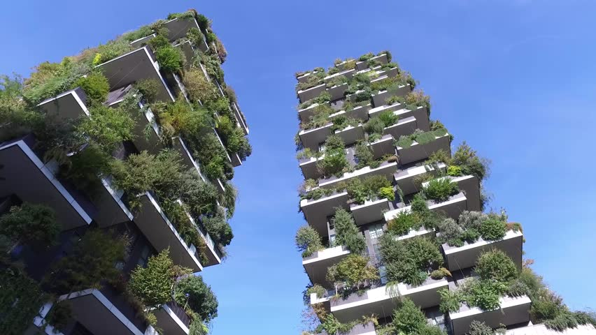 Vertical Forest, Milan, Porta Nuova skyscraper residences, Italy, October 7, 2017. View of the balconies and terraces of the Vertical Forest, full of green plants