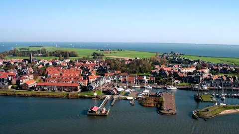 Aerial view of harbor of the traditional and historic Dutch village Marken (next to Volendam, The Netherlands).