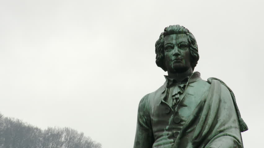 Close up of the Statue of Wolfgang Amadeus Mozart Standing in the Mozartplatz in Salzburg, Austria.