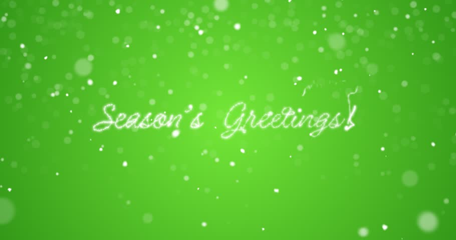 Looping Season's greetings message in english,german,french,spanish,italian,portuguese multi language with copy logo space on green background.Animated holiday card background seamless loop 4k video