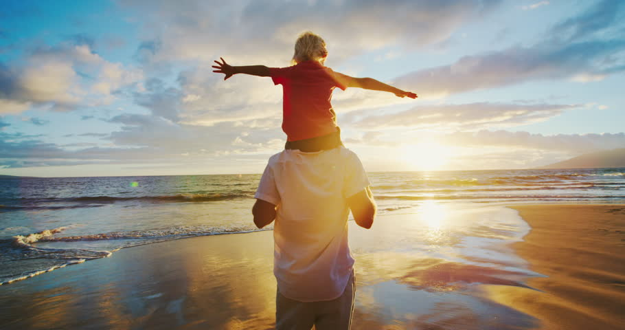 Father and son on the beach at sunset | Shutterstock HD Video #31935151