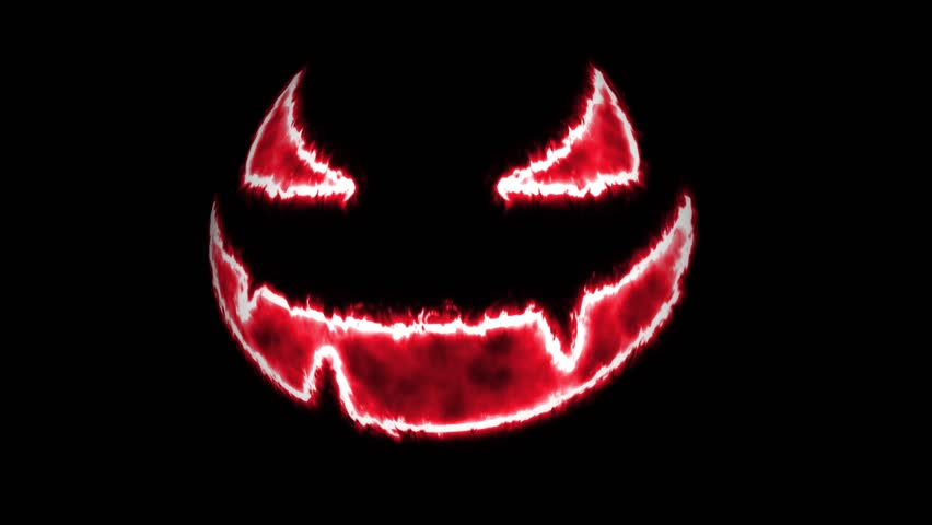 4K glowing scary halloween pumpkin face animation loop or background for advert, projection or event | Shutterstock HD Video #31947961
