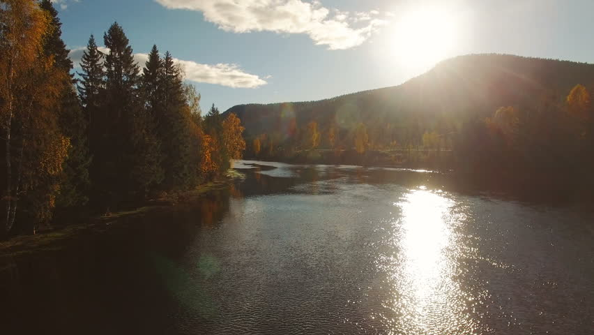 Flying over beautiful autumn river, forest and mountain on the background in sunset soft light with few cars driving on the riverside road. Norway. 4k aerial footage.