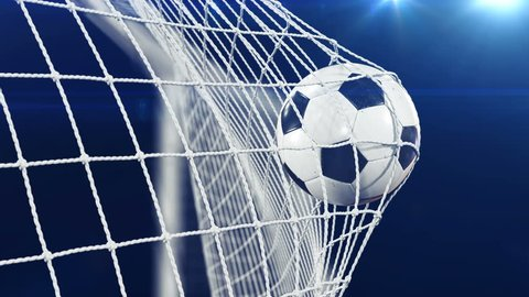 Soccer Ball flying in Goal Net in Slow Motion. Black Background and Flares. Sport Concept. Beautiful Football 3d animation of the Goal Moment. 4k Ultra HD 3840x2160.