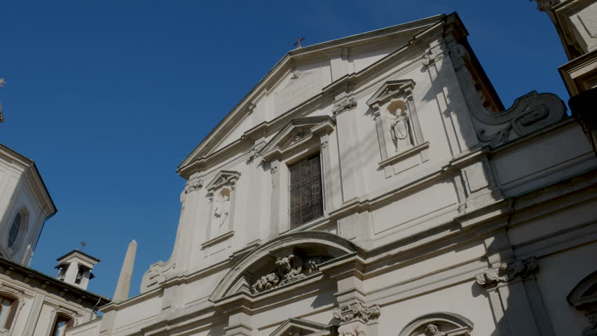Facade of the basilica di Santo Stefano Maggiore, a 5th century church in which Caravaggio was baptised, in Milan, Italy