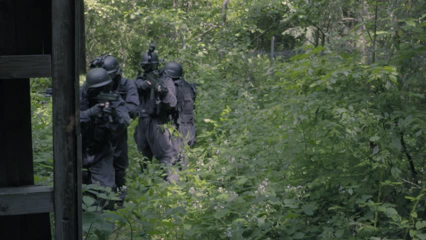 A Special Force Squad run in a wilderness area.