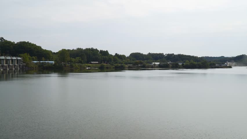 Panning shots of dams and lakes around the Namhan River and Chungju Lake