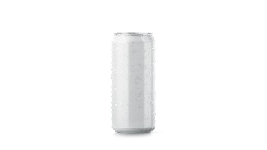 Blank big cold aluminium beer can mockup with drops, 500 ml, looped rotation, 3d rendering. Empty soda tin packing mock up with condensate, isolated on white. Canned dripping drink. Fizzy pop package