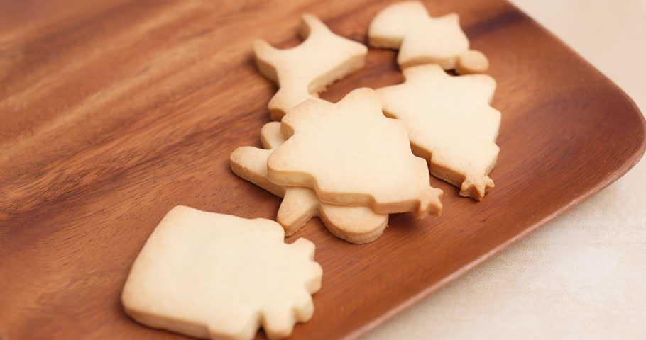 Homemade Christmas Cookies Putting On Stock Footage Video 100 Royalty Free 32037601 Shutterstock