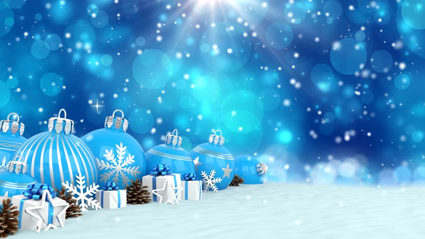 3d Animation Blue Christmas Baubles Decorations Bokeh Background Merry