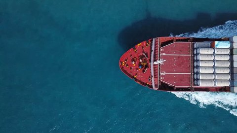 Large container ship at sea - Top down Aerial
