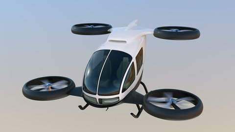White self-driving passenger drone flying in the sky. 3D rendering animation.