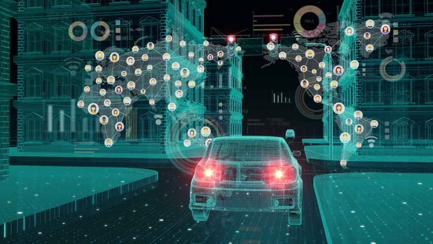 IoT car connect traffic information icon, making world map, control system, Internet of things concept.2. | Shutterstock HD Video #32093641