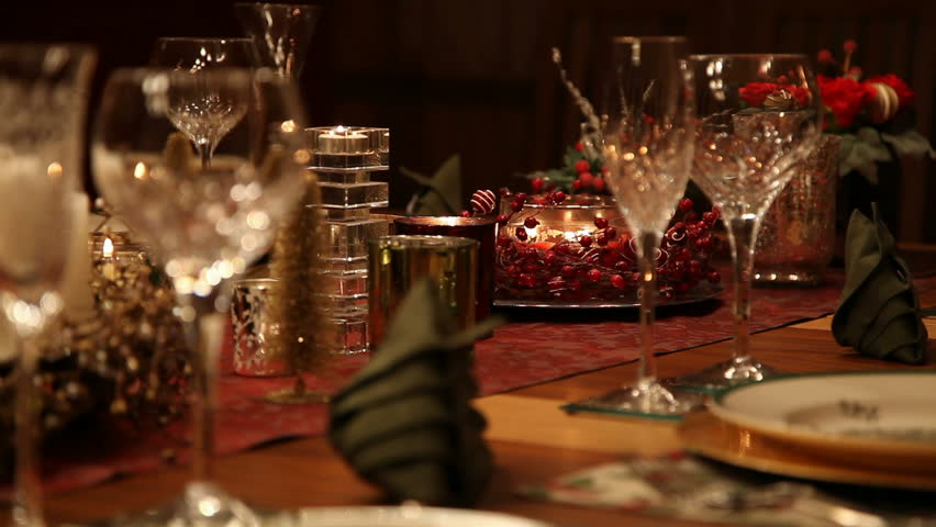 Christmas Table Mid Shot Static Stock Footage Video 100 Royalty