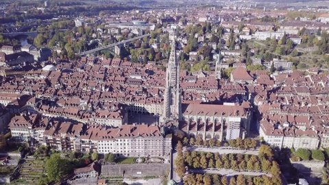 Aerial view of The Cathedral of Bern, Switzerland.  Bern is the capital of Switzerland. In 1983, the historic old town in the centre of Bern became a UNESCO World Heritage Site