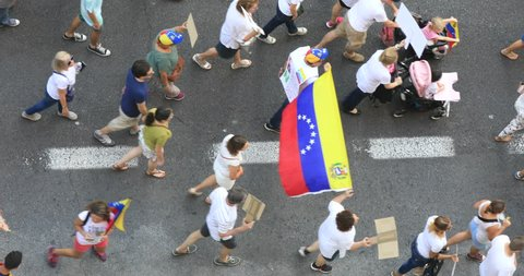 aerial protest Venezuelans at Valencia Spain, July 2017, 29th