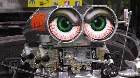 dodge muscle car engine intake hemi custom crazy eyes
