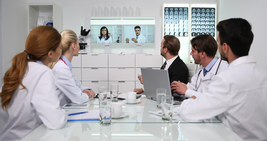 Manager Man Talking Online Video Conference Doctors Staff Medical Team Activity | Shutterstock HD Video #32168011