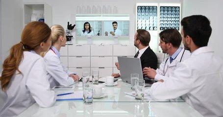 Manager Man Talking Online Video Conference Doctors Staff Medical Team Activity