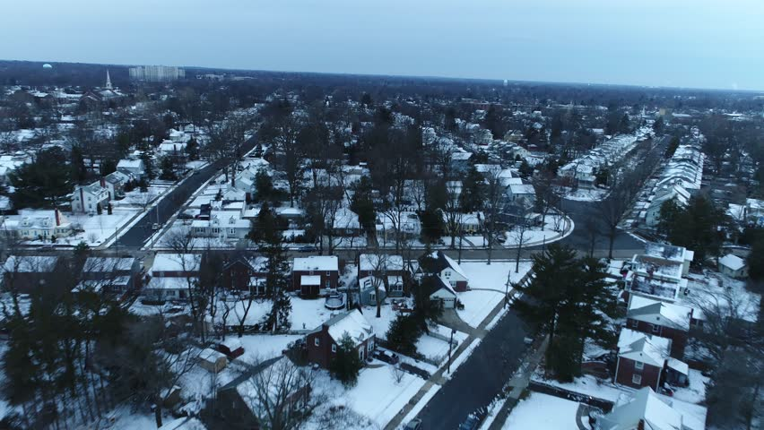 Aerial View of New Jersey after Snow #32171431