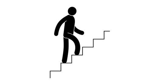 Pictogram  man is going upstairs. Loop animation with  included alpha channel.