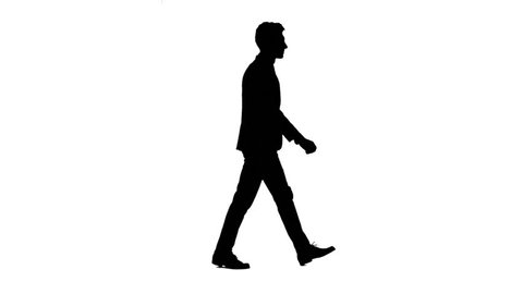Man is going to a business meeting and waving greetings. Side view. White background. Silhouette