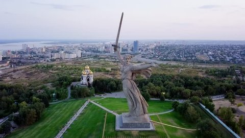 In the light of setting sun. Sculpture The Motherland Calls! - the compositional center of the monument-ensemble to Heroes of Battle of Stalingrad on the Mamayev Kurgan! Volgograd, Russia, From Dron