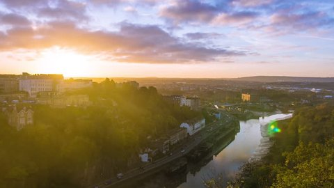 Bristol Sunrise Time Lapse, Light Trails, Night to Day, City Landscape, UK