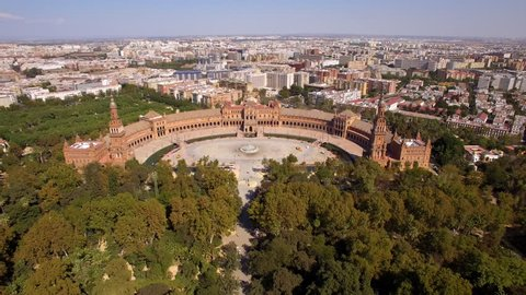 Seville, Spain, aerial view of Plaza de Espana (Spanish Square) and Sevilla cityscape.