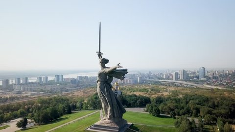 Sculpture The Motherland Calls! - compositional center of monument-ensemble to Heroes of Battle of Stalingrad on Mamayev Kurgan. Early morning. Volgograd, Russia, From Dron, Point of interest