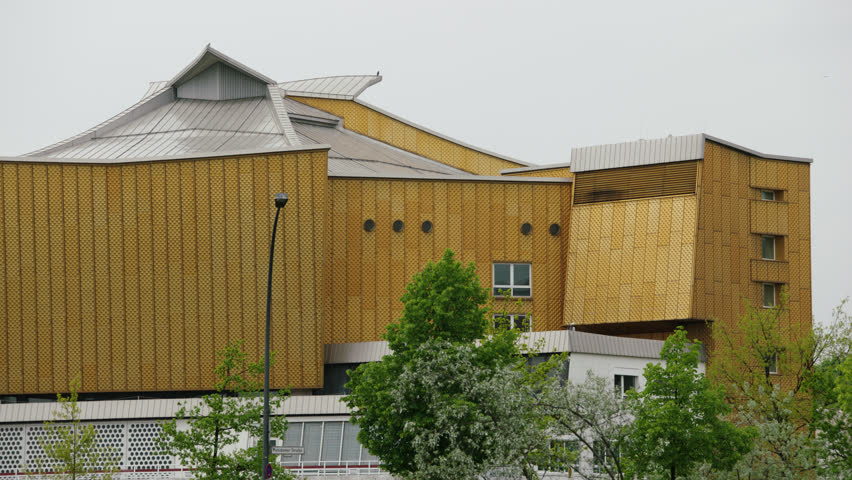 May, 2017 Berlin, Germany. Exterior of the Berlin Philharmonic Concert Hall on a cloudy day medium shot.