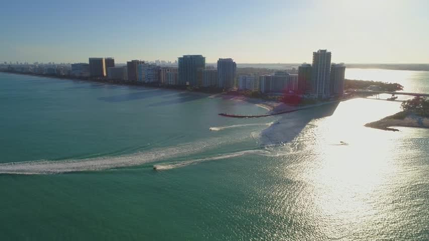 Aerial pull away flyaway shot Bal Harbour Miami FL